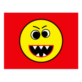 Scary Evil Yellow Smiley Emoticon Postcard