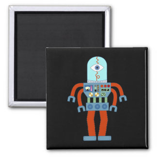Scary Eyeball Robot 2 Inch Square Magnet