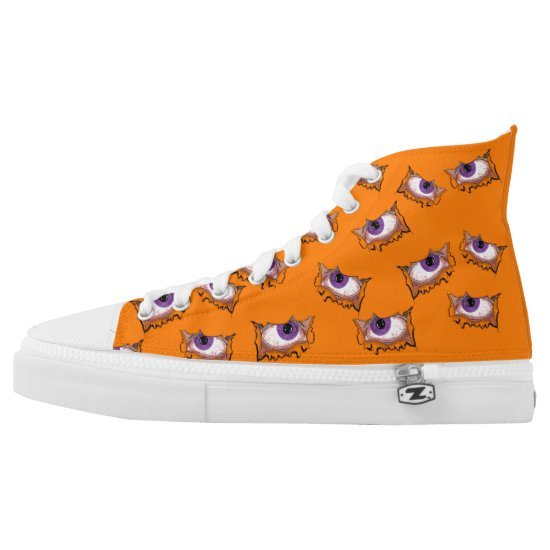 Scary Eyeballs Orange Halloween Trick or Treat High-Top Sneakers