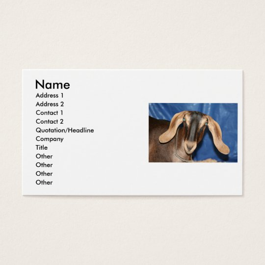 Scary eyed Nubian goat kid head picture Business Card