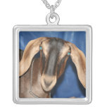 Scary eyed Nubian goat kid head picture Necklace