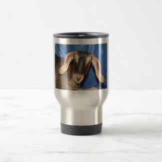 Scary eyed Nubian goat kid head picture Travel Mug
