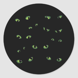Scary Eyes Green Classic Round Sticker