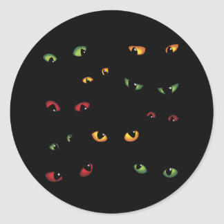 Scary Eyes Multi-Colored Classic Round Sticker