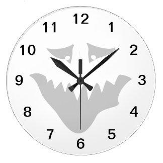 Scary Face Cartoon. Large Clock