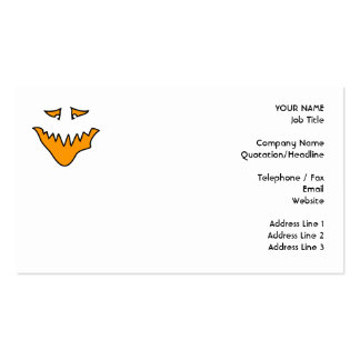 Scary Face. Monster Grin in Orange. Business Card Templates