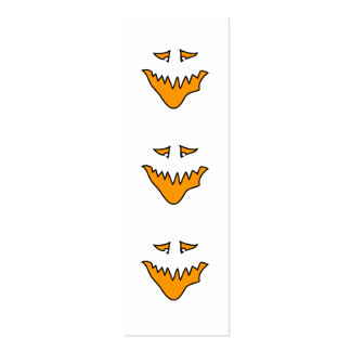 Scary Face. Monster Grin in Orange. Double-Sided Mini Business Cards (Pack Of 20)