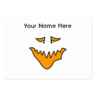 Scary Face. Monster Grin in Orange. Large Business Cards (Pack Of 100)