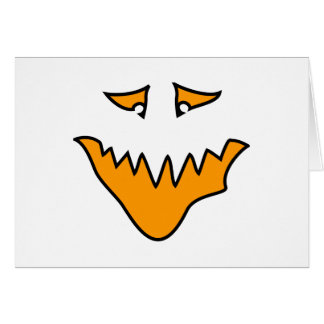 Scary Face. Monster Grin in Orange. Card