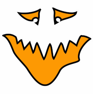 Scary Face. Monster Grin in Orange. Cutout