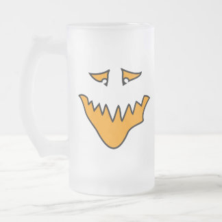 Scary Face. Monster Grin in Orange. Frosted Glass Beer Mug