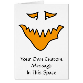 Scary Face. Monster Grin in Orange. Greeting Card