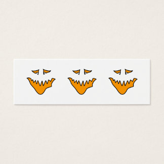 Scary Face. Monster Grin in Orange. Mini Business Card