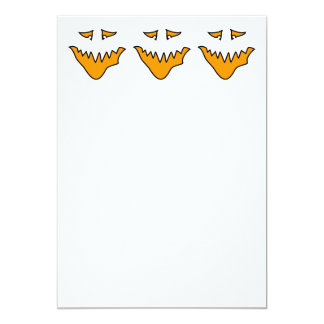 Scary Face. Monster Grin in Orange on White Card