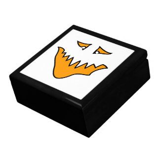 Scary Face. Monster Grin in Orange on White Gift Boxes