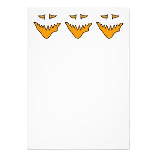 Scary Face. Monster Grin in Orange on White Custom Invitation