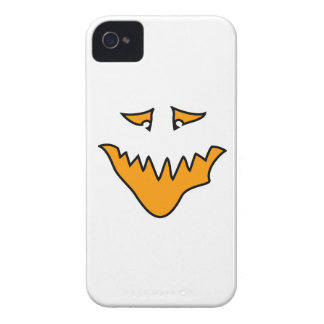 Scary Face. Monster Grin in Orange on White iPhone 4 Cover