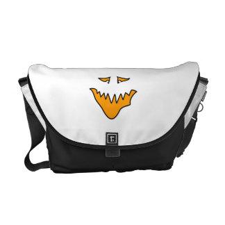 Scary Face. Monster Grin in Orange on White Commuter Bag