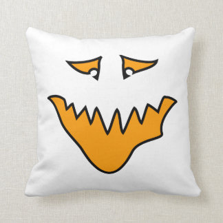Scary Face. Monster Grin in Orange on White Throw Pillow