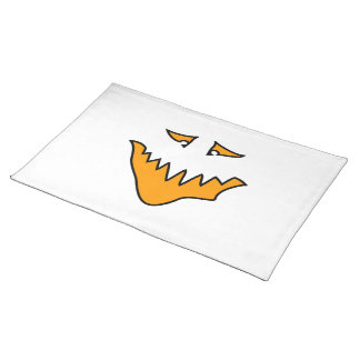 Scary Face. Monster Grin in Orange on White Cloth Placemat