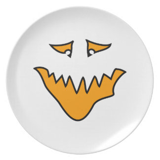 Scary Face. Monster Grin in Orange on White Party Plates