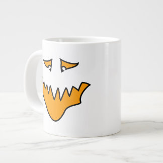 Scary Face. Monster Grin in Orange on White Extra Large Mug
