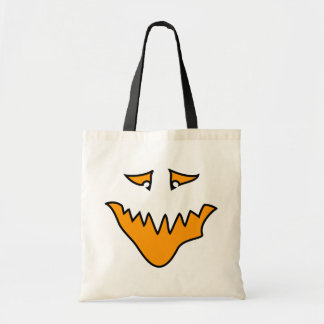 Scary Face Orange Monster Grin Tote Bag