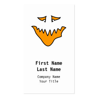 Scary Face. Orange Monster Grin. Business Card