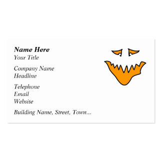 Scary Face. Orange Monster Grin. Double-Sided Standard Business Cards (Pack Of 100)