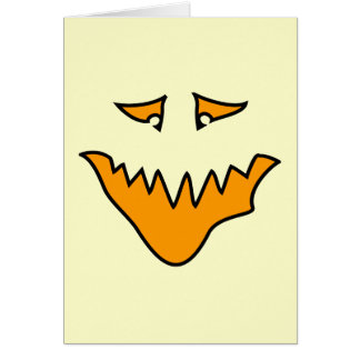 Scary Face. Orange Monster Grin. Card