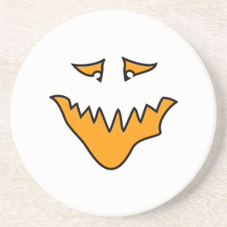 Scary Face. Orange Monster Grin. Coasters