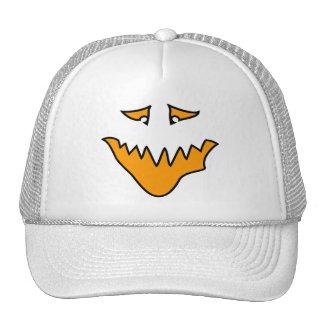 Scary Face. Orange Monster Grin. Hat