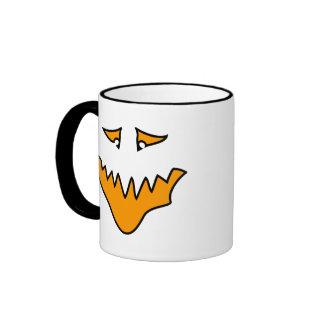 Scary Face. Orange Monster Grin. Mugs