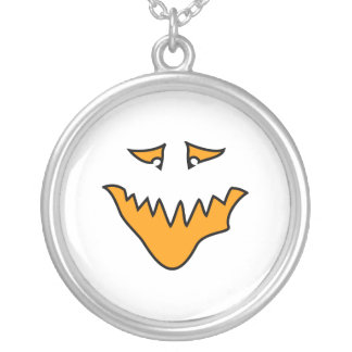 Scary Face. Orange Monster Grin. Round Pendant Necklace
