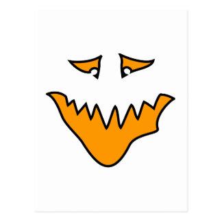 Scary Face. Orange Monster Grin. Postcard