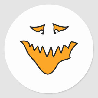 Scary Face. Orange Monster Grin. Round Stickers