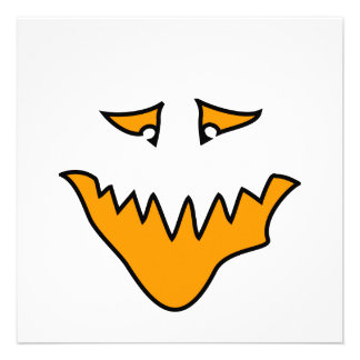 Scary Face. Orange Monster . Personalized Invitation