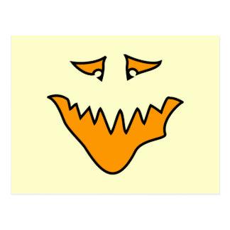 Scary Face. Orange Monster . Postcard