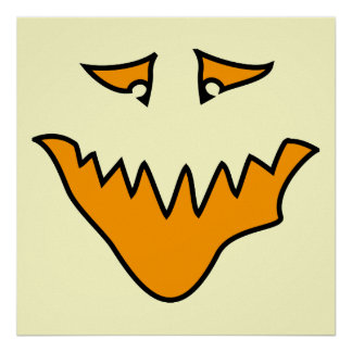Scary Face. Orange Monster . Poster