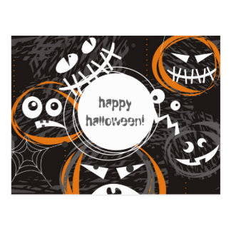 scary faces happy halloween postcard
