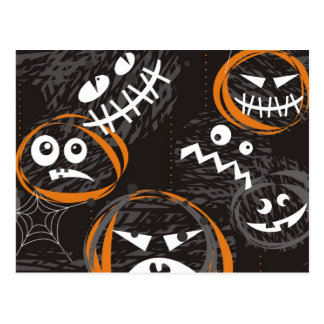 scary faces postcard