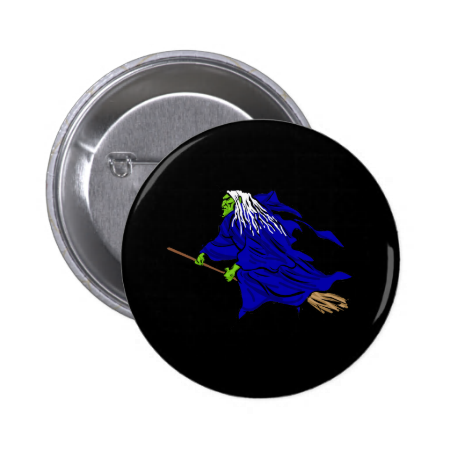 Scary flying witch buttons