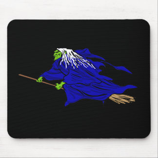 Scary flying witch mousepad