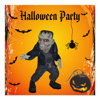 Scary Frankie & Pumpkin Halloween Party Card