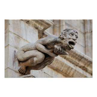 Scary Gargoyle figure from medieval Town Hall Poster