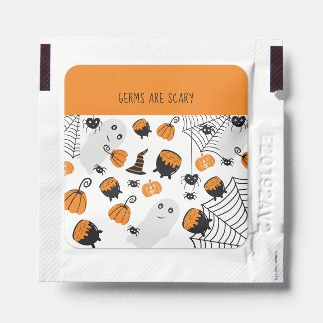 Scary germs Halloween orange illustration pattern Hand Sanitizer Packet