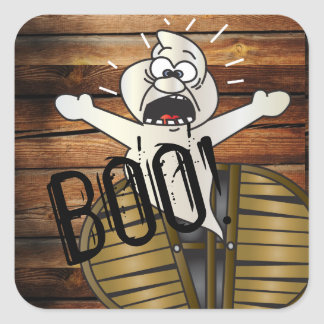 Scary Ghost Boo | Halloween Square Sticker