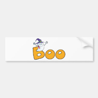 Scary Ghost Coming out Of Boo Text Bumper Sticker