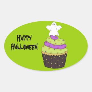 Scary Ghost Cupcake/Halloween Goody-Bag Sticker