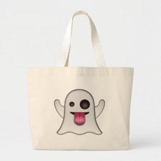 Scary Ghost Emoji Cool Fun Large Tote Bag